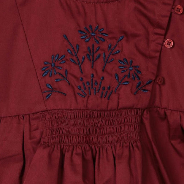 Pluie Embroidered Maroon Smocked Dress