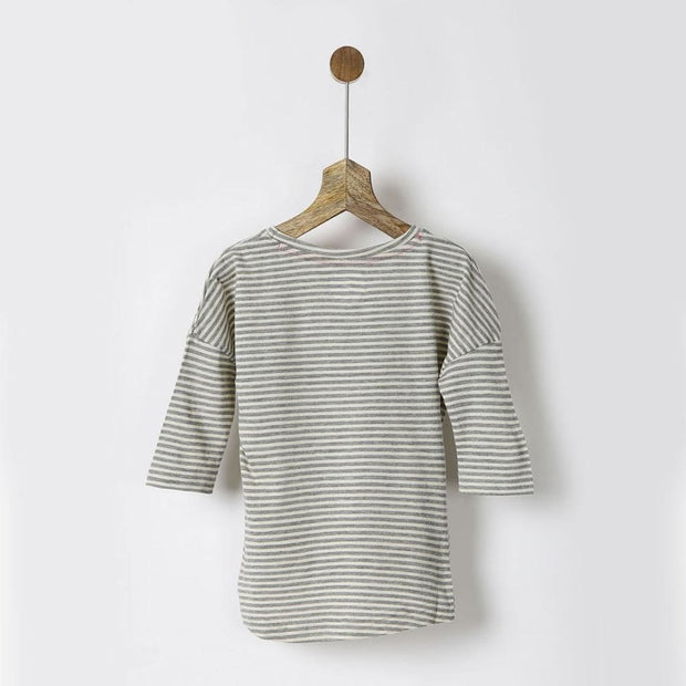 Pluie Grey and White Striped Tee with Drop Shoulders
