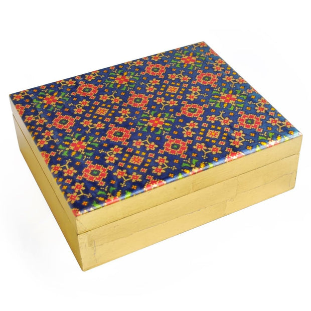 Red & Blue Patterned Jewellery Box - JEWELLERY BOX