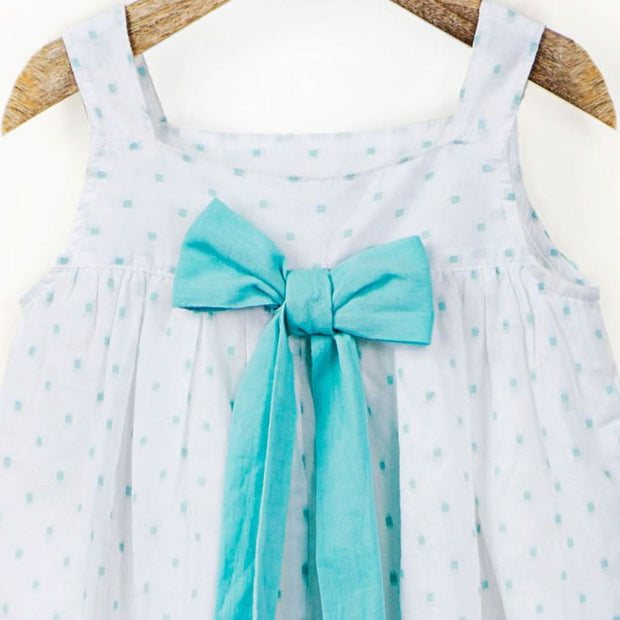 White and Mint Cotton Dobby Cami Top with Back Bow Detail