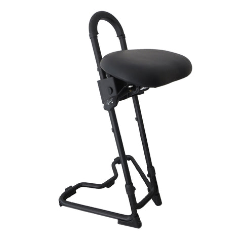 Image of STEYBIL Sit-Stand Stool with Black Leatherette