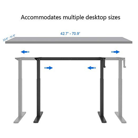 Image of DEVAISE Height Adjustable Standing Desk Frame with Crank Handle