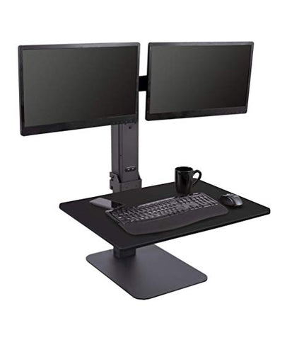 Electric Adjustable Standing Desk Converter with Dual Monitor Mount - Turns Any Desk Into a Standing Desk