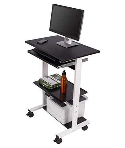 Image of Mobile Adjustable Height Stand Up Workstation (Black & Black)