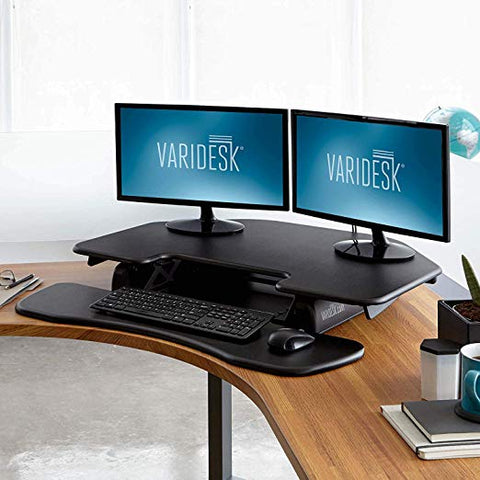 VARIDESK – Height Adjustable Standing Desk Cube Corner 36 for Dual Monitors