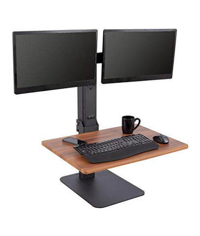 Image of Electric Adjustable Standing Desk Converter with Dual Monitor Mount - Turns Any Desk Into a Standing Desk