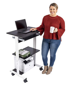Mobile Adjustable Height Stand Up Workstation (Black & Black)
