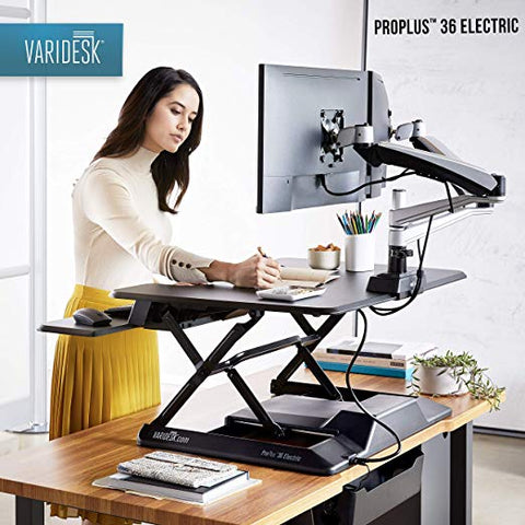 Image of VARIDESK – Height Adjustable Converter - Pro Plus 36 Electric & Power Hub for Dual Monitors