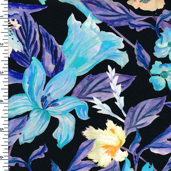 SP-NP2668 Danube Floral Mix Black Blue Navy Cream | Nylon Spandex Digitally Wet Print