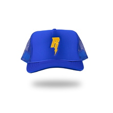 "Load image into Gallery viewer, Revive Minds ""STATEMENT HAT"" (BLUE/GOLD)"