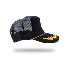 "Load image into Gallery viewer, Revive Minds ""STATEMENT TRUCKER HAT"" BLK/GOLD LEAVES"