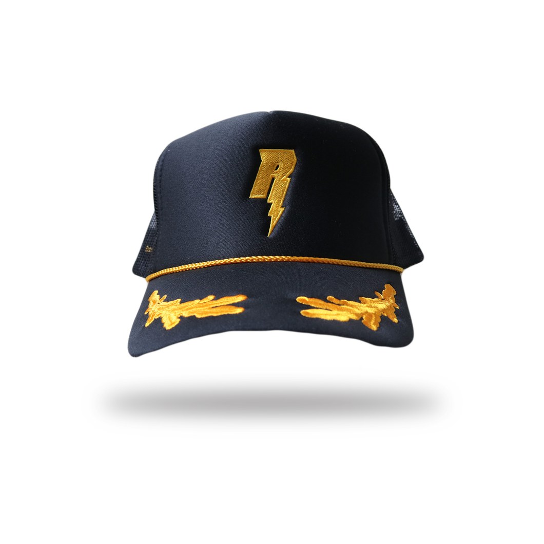 "Revive Minds ""STATEMENT TRUCKER HAT"" BLK/GOLD LEAVES"