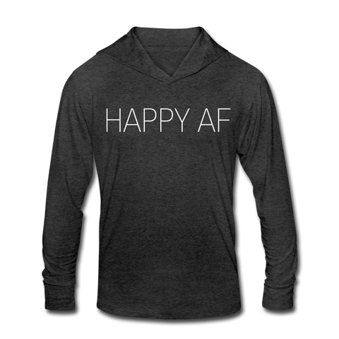 HAPPY AF Unisex Tri-Blend Hoodie Shirt - heather black