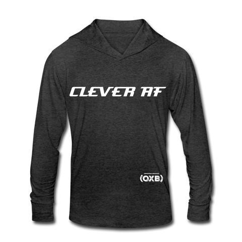 CLEVER AF Unisex Tri-Blend Hoodie Shirt - heather black