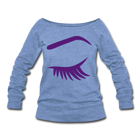 Close Your Eyes Women's Wideneck Sweatshirt - heather Blue