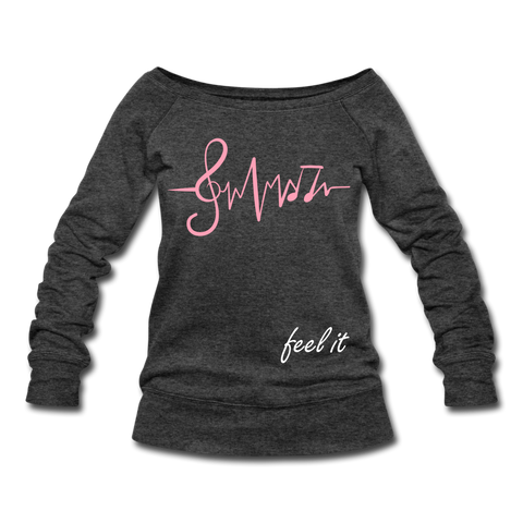 Feel It Women's Wideneck Sweatshirt - heather black