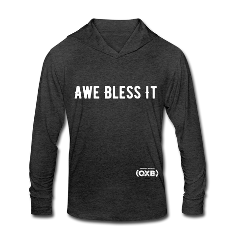 AWE BLESS IT Unisex Tri-Blend Hoodie Shirt - heather black