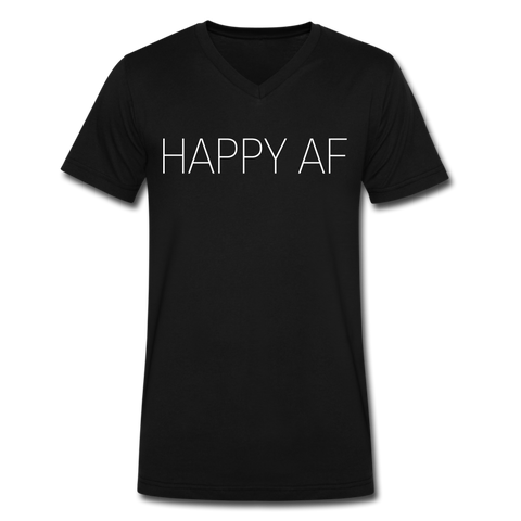 HAPPY AF Men's V-Neck T-Shirt by Canvas - black