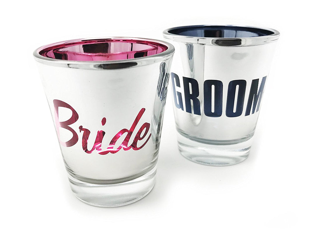 Bride and Groom Mirrored Shot Glass Set