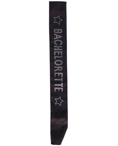 Black Bachelorette Sash with clear crystals