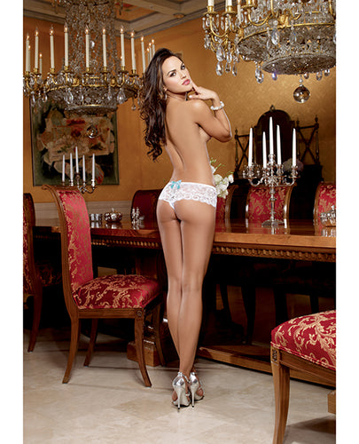 Stretch Lace Open Crotch Bridal Boyshort with Something Blue Medium
