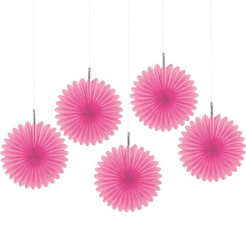Bright Pink Mini Fans (5 count)