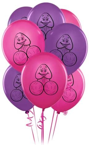 Pink and Purple Silly Pecker Face Balloons