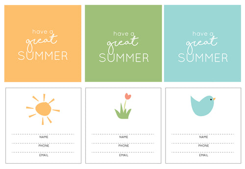 Summer Days Contact Cards (6 sets )