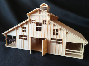 Miniature HO Scale Old West #6 Frontier Wood Livery Barn Stables Assembled w/ Interiors