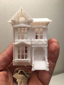N-Scale White Built Victorian Miniature #2 Stick Style House Model Train 1:160