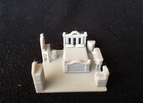 HO Scale Miniature Bedroom Insert including Bed, side table, Vanity and dresser