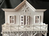 Miniature White Old West #3 Sheriff Jailhouse HO Train Scale with Interiors Assembled Built Ready