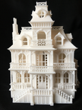 HO Scale White Miniature Victorian Collection #4 Mansion by Gold Rush Bay INCLUDING INTERIORS