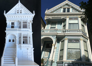 Miniature Painted Lady #3 Victorian White House Train HO Scale Assembled White INCLUDING INTERIORS
