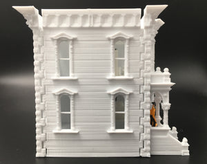 Gold Rush Bay Miniature HO Scale Victorian #1 White Railroad Train Layout