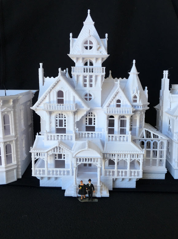 HO-Scale Miniature Victorian #5 - Castle House by Gold Rush Bay 1:87 White (Hinge)