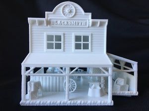 Miniature HO Scale Old West #5 Frontier Blacksmith Shop Built Includes Interiors