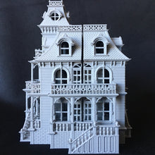 Gray Miniature Haunted Halloween House/Mansion Victorian House 1:87 HO Scale