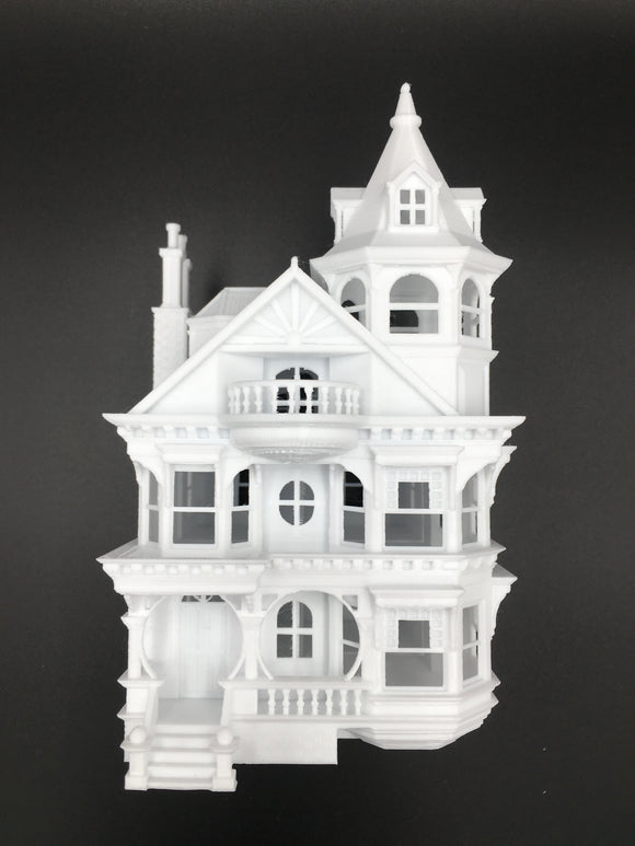 HO Scale Miniature Victorian #3 Queen Anne Tower House 1:87 White (Hinge)
