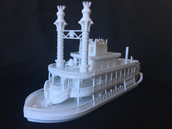 """The Riverbelle"" - Miniature HO Scale Old West Steamboat Paddlewheeler Riverboat Built Train Layout"
