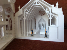 Miniature White Church Assembled with Interiors Gothic Cathedral