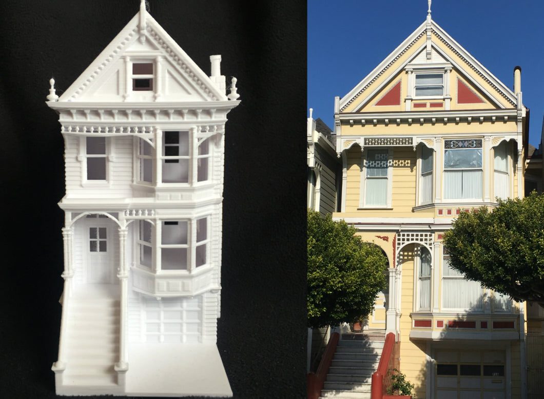 Miniature San Francisco Painted Lady #1 Victorian White House HO Scale Assembled