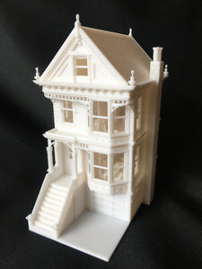Miniature San Francisco Painted Lady #1 Victorian White House HO Scale Assembled INCLUDING INTERIORS!