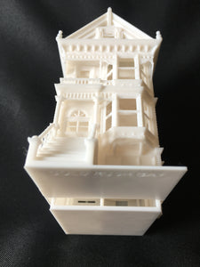 Miniature Painted Lady #2 Victorian White House Train HO Scale Assembled White INCLUDING INTERIORS