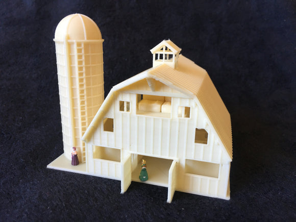 Gold Rush Bay N-Scale Miniature Old West7 Wood Color Barn+Silo 1:160 Assembled INCLUDING INTERIORS