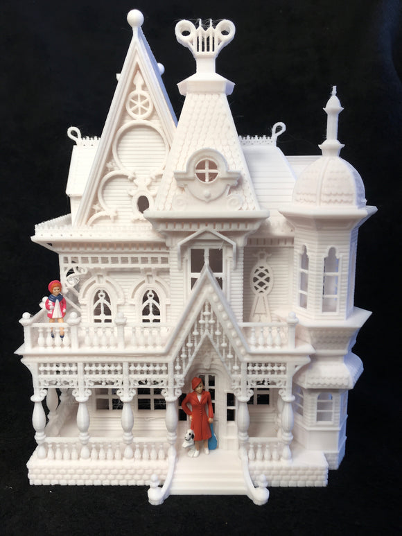 Gold Rush Bay Larger O-Scale Miniature 'Nob Hill' Victorian House 1:48 Scale Built White