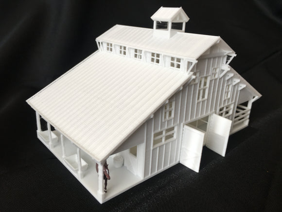 Miniature HO Scale Old West #6 Frontier Livery Stable Barn Assembled w/ Interior