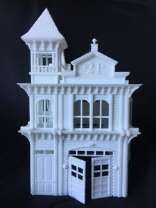 Victorian Firehouse Station Miniature Model Train HO Scale Assembled Pre-Built