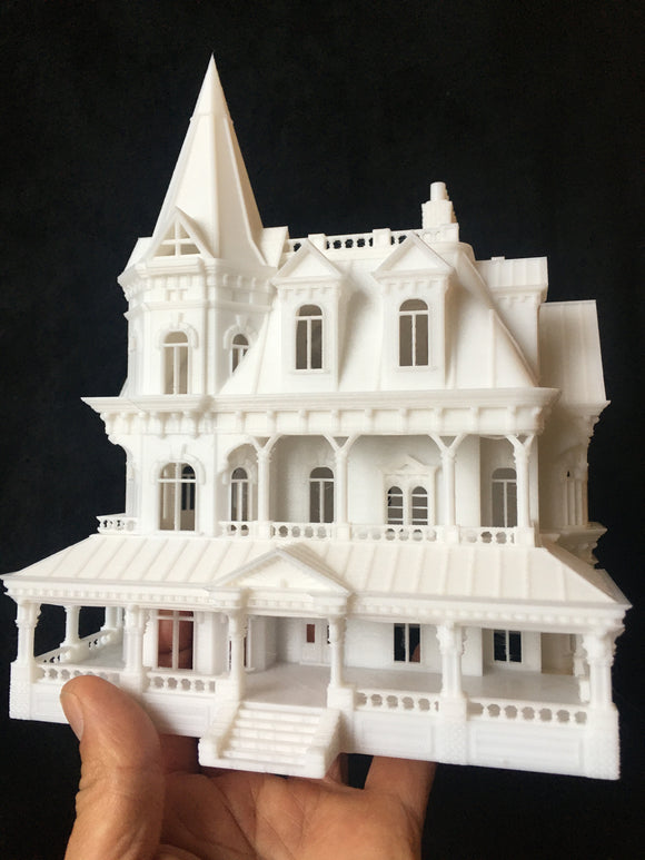 HO-Scale Miniature Victorian #12 Madam Sally House Assembled Gothic Train White