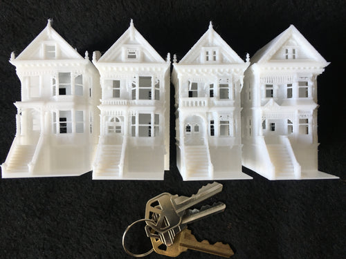 N-Scale Set of 4 Miniature Victorian Painted Ladies White Houses Assembled 1:160
